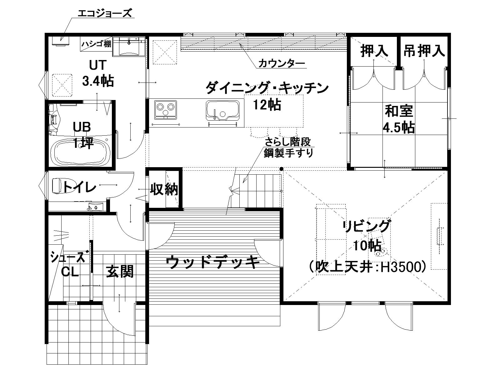 1階平面図(ウッドデッキ)